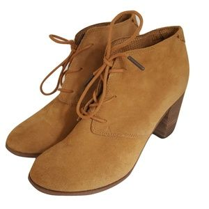 TOMS Wheat Suede Lunata Lace-up Ankle Boot Sz 8.5
